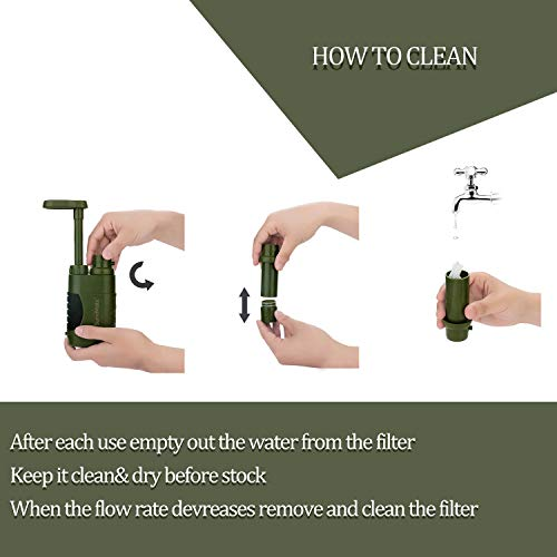 SurviMate  6 SurviMate Portable Water Filter Pump for Hiking Camping Travel Emergency use with Activated Carbon & 3 Filter Stages (Green) (Pump)