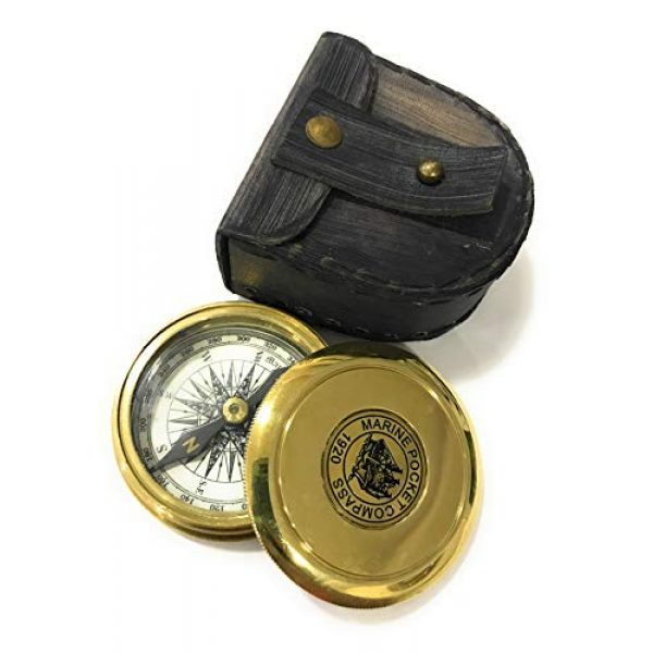 NauticalMart Survival Compass 2 Marine Brass Pocket Compass with Leather Case Nautical Gift