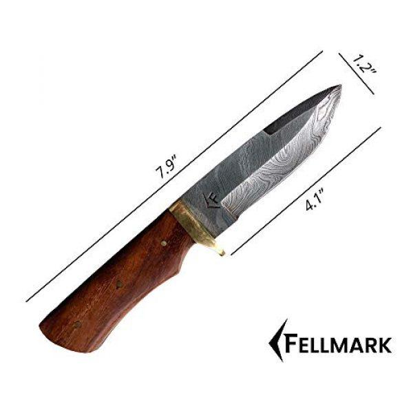 "Fellmark Fixed Blade Survival Knife 3 Fellmark Damascus Steel Hunting Knife with Sheath Kratt Scandi Grind Bushcrafting Knife 7.9"" Full Tang Camping Blade"