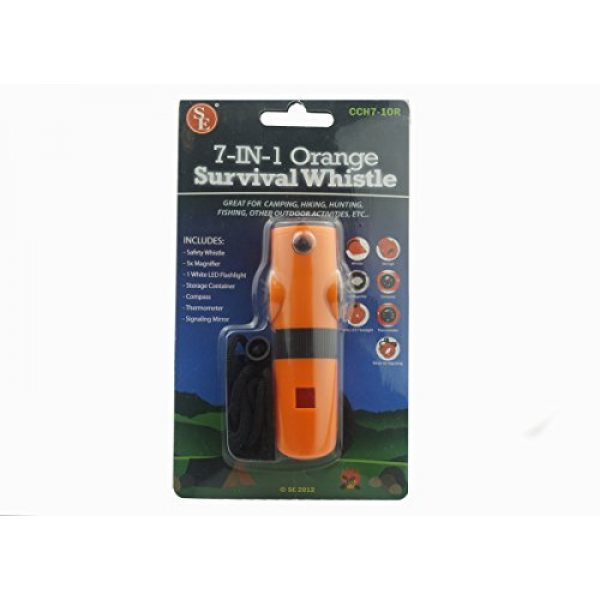 SE Survival Whistle 2 SE 7-IN-1 Survival Whistle in High-Visibility Orange - CCH7-1OR