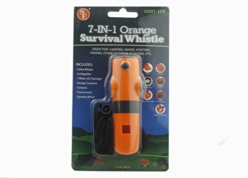 SE  2 SE 7-IN-1 Survival Whistle in High-Visibility Orange - CCH7-1OR