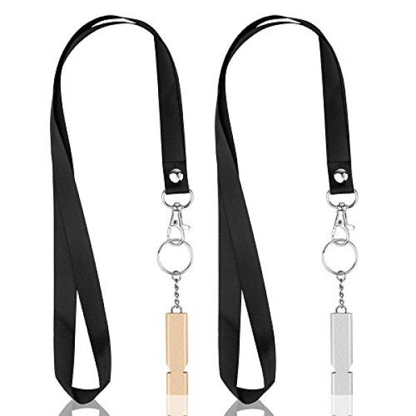 SHvivik Survival Whistle 7 SHvivik Emergency Whistle, 2PCS Premium Safety Survival Whistles with Lanyard Keychain, High Pitch Double Tubes for Outdoor Hiking Camping Hunting Fishing Boating