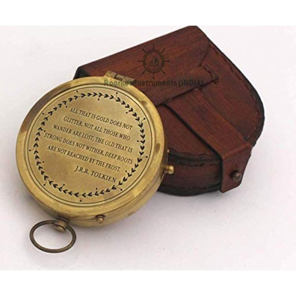 Roorkee Instruments India Survival Compass 2 Thoreau's Go Confidently Quote/Robert Frost Poem Engraved Compass/J R R Tolkien/John Mascficld/ Quote Compass/Gift for All Occasion.Camping Compass, Boating Compass