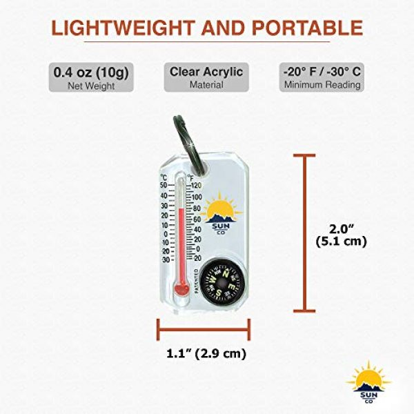 Sun Company Survival Compass 4 Sun Company Therm-o-Compass - Zipperpull Compass and Thermometer   Easy-to-Read Outdoor Thermometer and Compass