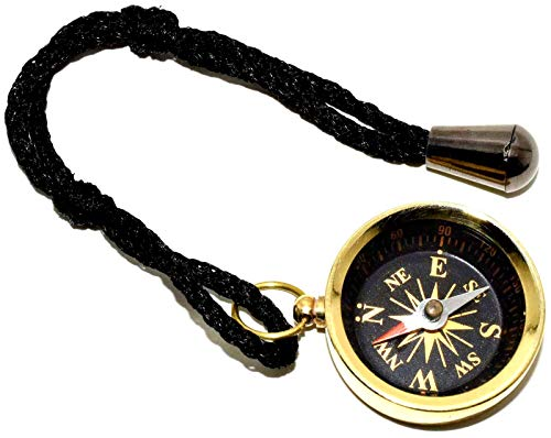 "Nautical World Survival Compass 2 Nautical World Solid Brass Pocket Compass 1.5"" - Camping and Hiking"