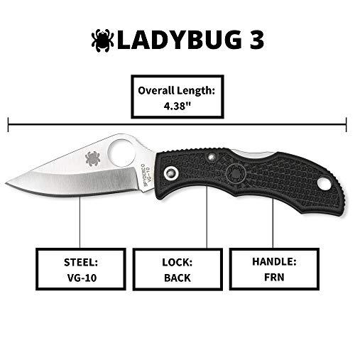"Spyderco  5 Spyderco Ladybug 3 Signature Folding Knife with 1.9"" VG-10 Steel Blade and Lightweight Black FRN Handle - PlainEdge - LBKP3"