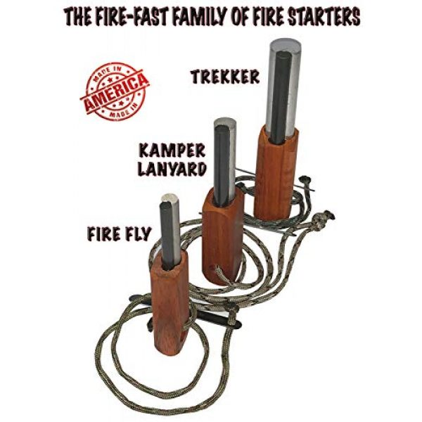 Fire-Fast Survival Fire Starter 3 Fire Fast Fire Fly. European Fire Steel Ferro Rod and Magnesium. Compact Feather Weight Emergency Fire Starter for Camping, Backpacking, Hiking.