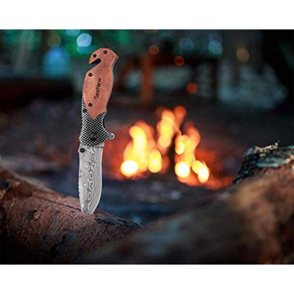 Seenew Folding Survival Knife 7 Rescue Pocket Knife with Flipper, Survival Folding Knife with Seat Belt Cutter and Glass Breaker, Outdoor Sturdy Tactical Pocket Knife with Steel Blade, Thumb Stud and Clip