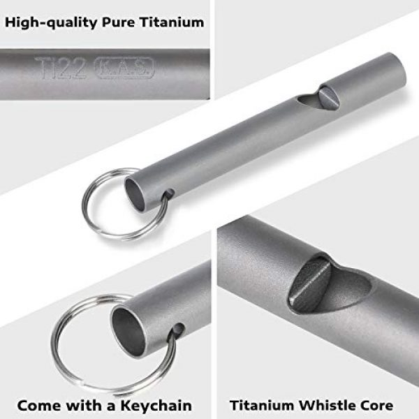 Ti22 Survival Whistle 3 Ti22 Air Titanium Emergency Whistle, Sports Loud Whistle with Keychain for Emergency Survival, Lifeguard, Hiking, Camping, Boating and Dog Training (Pack of 2)