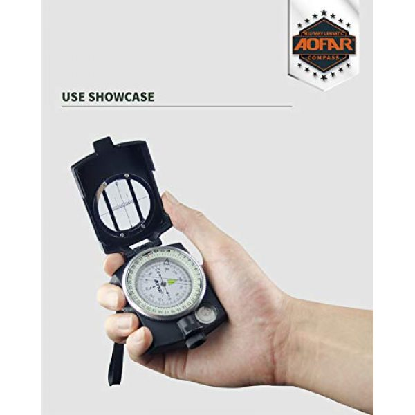 AOFAR Survival Compass 6 AOFAR AF-4580 Military Black Compass Lensatic Sighting Navigation, Waterproof and Shakeproof with Map Measurer Distance Calculator, Pouch for Camping, Hiking, Hunting, Backpacking