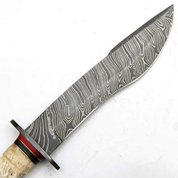 PAL 2000 KNIVES Fixed Blade Survival Knife 5 Custom Handmade Damascus Steel Hunting Bowie Knife -Sword/Chef Kitchen Knife/Dagger/Full Tang/Axe/Billet/Cleaver/Bar/Folding Knife/Knives Accessories/Survival/Camping with Sheath 9338