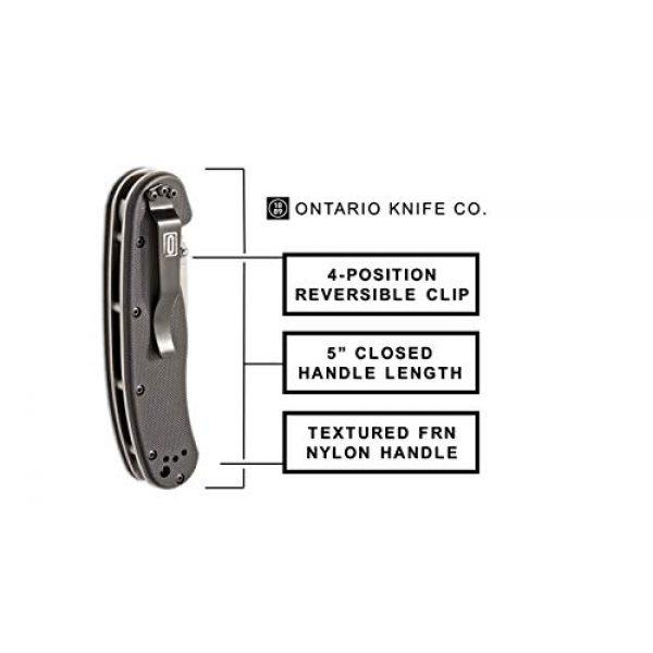 "Ontario Knife Company Folding Survival Knife 4 EKA Knives Ontario Knife Co. 8849 Rat-1 Satin AUS-8 Stainless Steel 3.50"" Serrated Edge Blade Black Nylon Handle 4-Position Reversible Clip Folding Knife for Outdoor, Tactical, Survival & EDC (Black)"