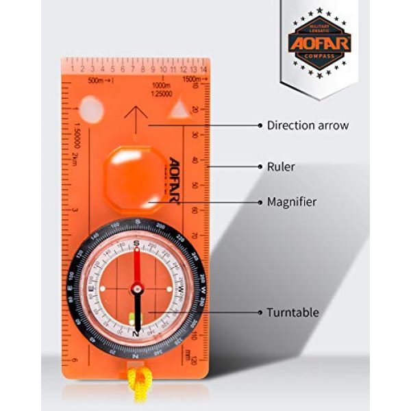 AOFAR Survival Compass 2 AOFAR AF-5C Orienteering Compass for Hiking, Boy Scout Compass for Kids - Professional Field Compass for Map Reading,Navigation and Survival Lightweight - Mini Camping Compass