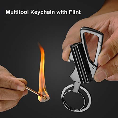 Lixada Survival Keychain 4 Lixada Keychain Bottle Opener with Flint Metal Matchstick Fire Starter Great Kerosene Refillable Keychain Multitool Mountaineering Buckle Lighter Emergency Survival Gear