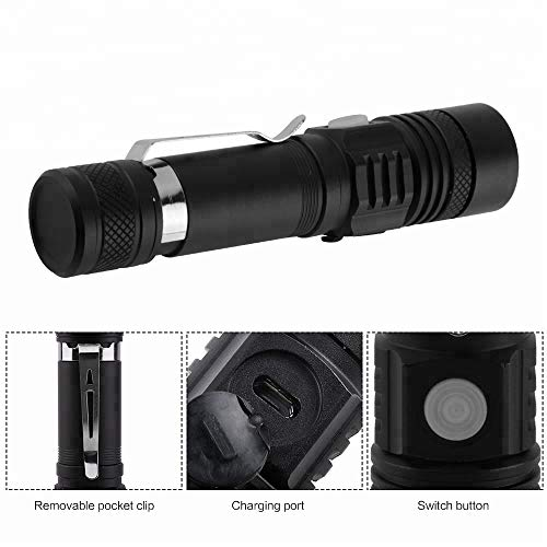 TFandG  2 TFandG Tactical LED Mini Flashlight Bright High Power 800 lumens Light 4000mAh USB Rechargeable Lithium Battery Waterproof with Belt Clip - for Outdoor Camping Hunting EDC Military and Police use