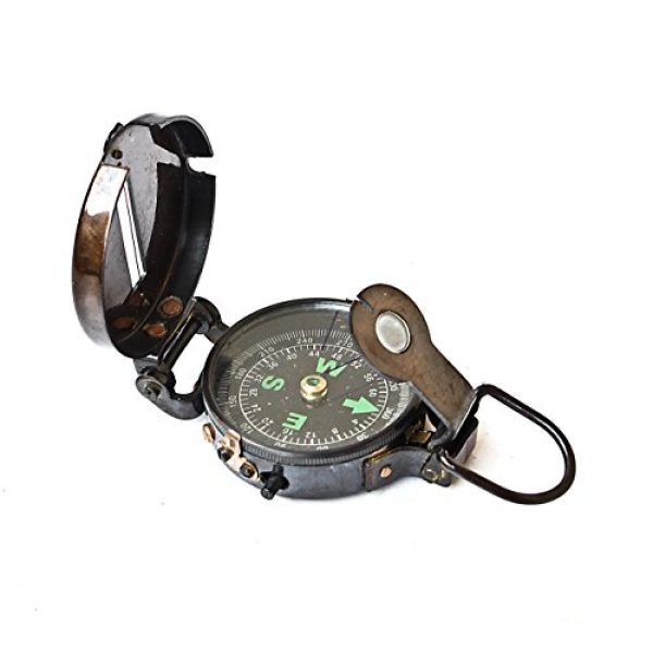 collectiblesBuy Survival Compass 2 Lensatic Compass Black Military Vintage Antique navigational Marine, 3 inches, Antique Brass