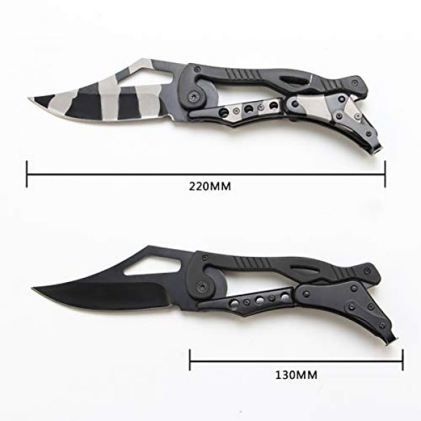 BaiYing Folding Survival Knife 2 BaiYing Folding Pocket Knife, Good Survival Knife for Camping and Outdoor Activities, High Hardness Camping Hunting Knife for Hunting, Travels, Fishing (Black) (BYKA02C CAMO)