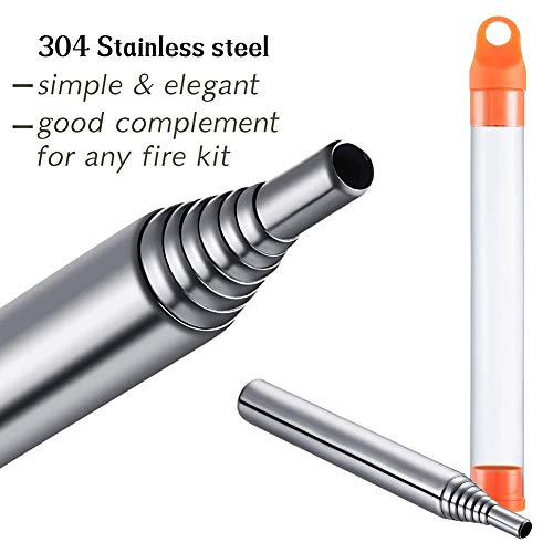 PSKOOK  5 PSKOOK 2 Size Pack Pocket-Size Fire Bellows Collapsible Stainless Steel Fire Blower Pipe Builds Campfire Tool with Poly Carrying Bag (2 Size)