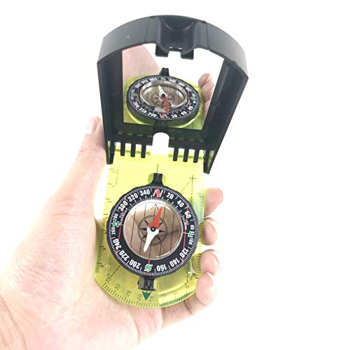 DETUCK  5 DETUCK(TM Map Compass and Protractor Green Acrylic Rotating Bezel Sighting Compass with Mirror for Camping Hiking Hunting Boating Mapping Drawing Outdoor