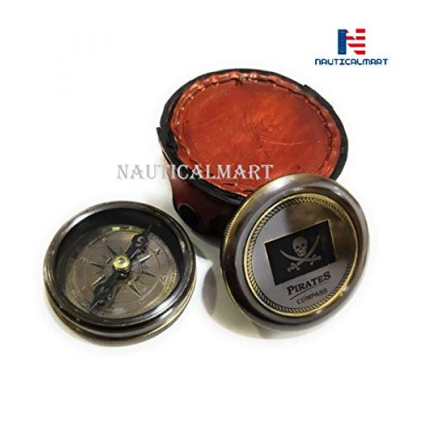 """NauticalMart Survival Compass 3 Brass Compass Pirates of Caribbean Jack Sparrow 2"""" Pocket Antique Gift with Beautiful Leather Case"""