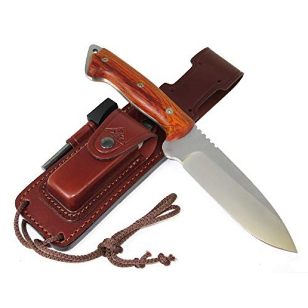 CDS-Survival Fixed Blade Survival Knife 4 CELTIBEROCOCO - Outdoor / Survival / Hunting / Tactical Knife - Cocobolo Wood Handle, Stainless Steel MOVA-58 with Genuine Leather Multi-positioned Sheath + Sharpener Stone + Firesteel
