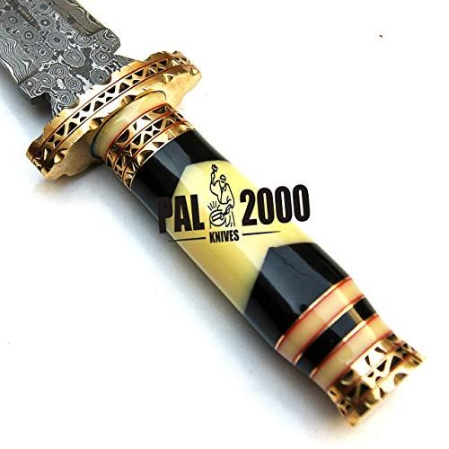 PAL 2000 KNIVES  6 PAL 2000 KNIVES Handmade Damascus Hunting Knife 16 Inches Buffalo Horn and Camel Bone Handle with Sheath 9532
