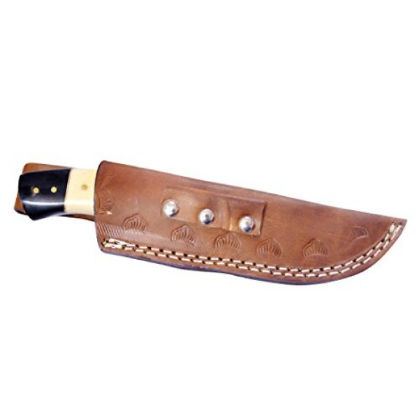Nescole Fixed Blade Survival Knife 5 Nescole 8 in. Bowie Knife- Handmade Damascus Knife- Decorative Knives, Camping Survival Knife, and Hunting Knife with Camel Bone and Walnut Wood Handle, 4 in. Sharp Blade with Leather Sheath
