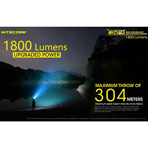 Nitecore  3 NITECORE MH25GTS 1800 Lumen USB Rechargeable Tactical Flashlight with Battery & LumenTac Adapter