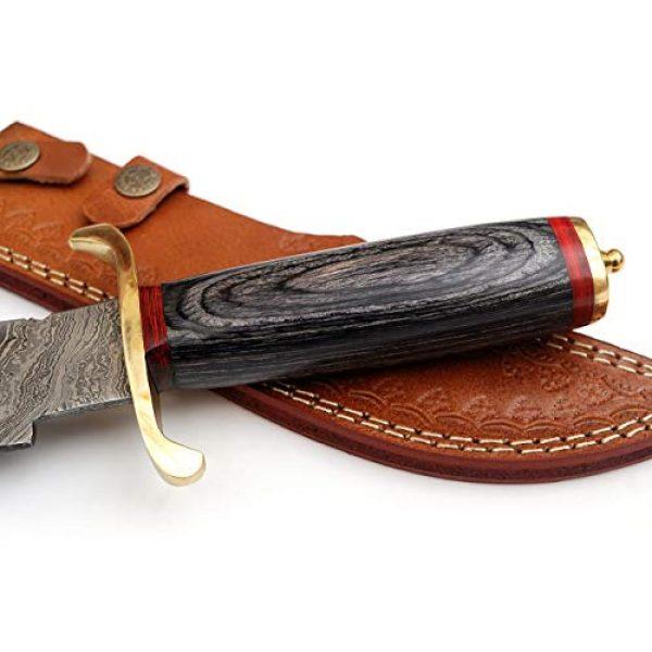 SharpWorld Fixed Blade Survival Knife 5 SharpWorld 15 Inches Custom Damascus Knife Black Wood Handle w/Brown Leather Sheath TJ118