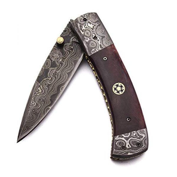 WolfKlinge Folding Survival Knife 2 WolfKlinge DCX17-76 Handmade Damascus Steel Pocket Folding Knife, Sheep Horn Handle, with Cowhide Leather Sheath Be The First to Review This Item