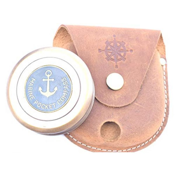 NEOVIVID Survival Compass 4 NEOVIVID Robert Frost Poem Engraved Brass Compass with Leather Case, The Road Not Taken Compass