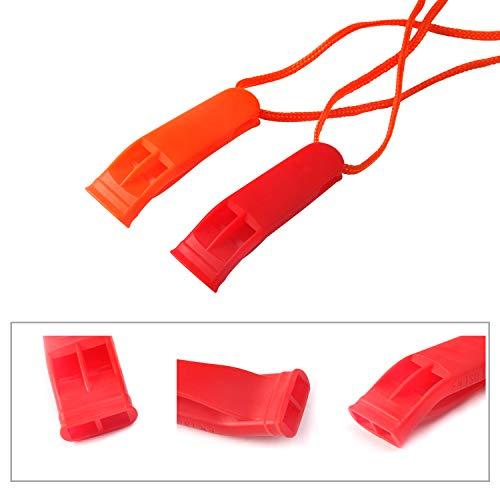 Augsun  2 Augsun 10 Pcs Emergency Safety Whistle Plastic Whistles Set with Lanyard