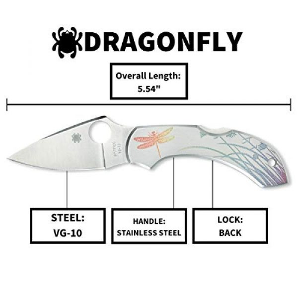 """Spyderco Folding Survival Knife 5 Spyderco Dragonfly Signature Tattoo Folding Knife with 2.32"""" VG-10 Steel Blade and Durable Stainless Steel Handle - PlainEdge Grind - C28PT"""