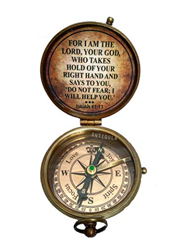 Antiqula  2 All I Want for Christmas is You Engraved Brass Antique Look Vintage Compass with Real Leather Case Antishock Outdoor Camping Hiking Home Decor staedtler Compass for Kids