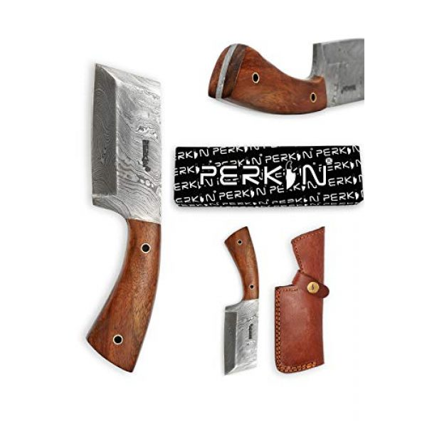Perkin Fixed Blade Survival Knife 7 Damascus Steel Hunting Knife Damascus Chef Knife with Sheath