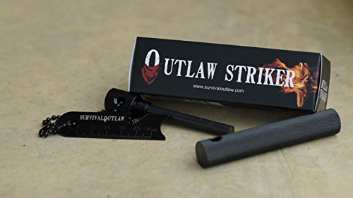 Survival Outlaw Survival Fire Starter 2 Outlaw Striker - Magnesium Water Proof Fire Starter Kit with Multi -Tool - 10,000+ Strikes - Compact Firestarter Survival Flint for Emergency, Camping, and Bushcraft.