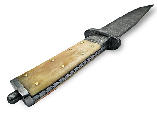 "Knife King  7 Knife King ""Custom Damascus Handmade Hunting Knife. with Leather Sheath"