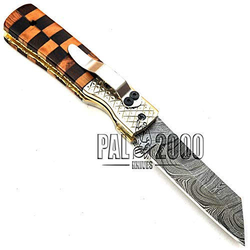 PAL 2000 KNIVES  6 PAL 2000 KNIVES Handmade Damascus Steel Folding Clip Knife with Sheath 8 Inches Rose Wood and Olive Wood Handle New Pattern Blade Liner Lock 9609