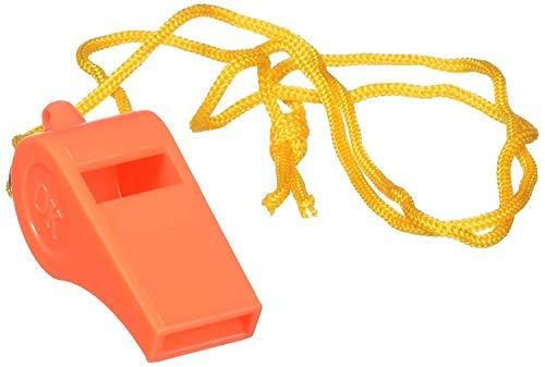 "SE  2 SE Orange Plastic Whistles with 14"" Lanyards (100 PC.) - WH3-B-100"