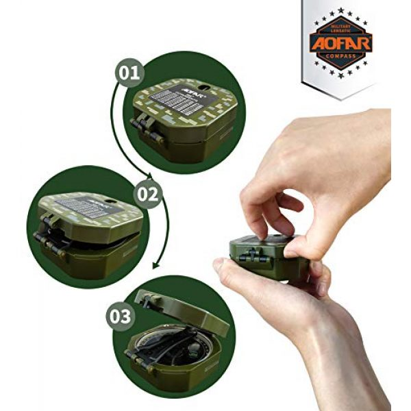AOFAR Survival Compass 4 AOFAR AF-M2-B Military Compass Lensatic Sighting-Multifunctional, Fluorescent, Waterproof and Shakeproof with Inclinometer and Carrying Bag for Camping, Hiking, Hunting