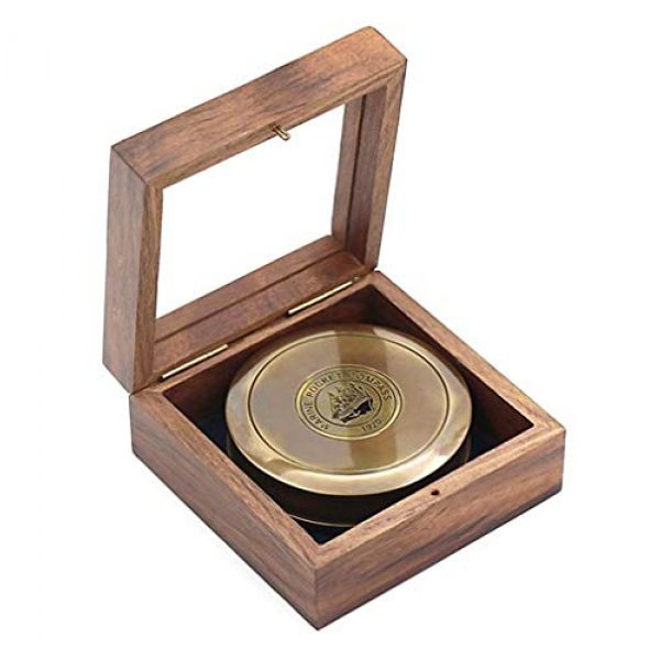 """Roorkee Instruments India Survival Compass 3 ROORKEE INSTRUMENTS (INDIA) A NAUTICAL REPRODUCTION HOUSE 3"""" Robert Frost Poem Compass with Glass Top Hardwood Box"""