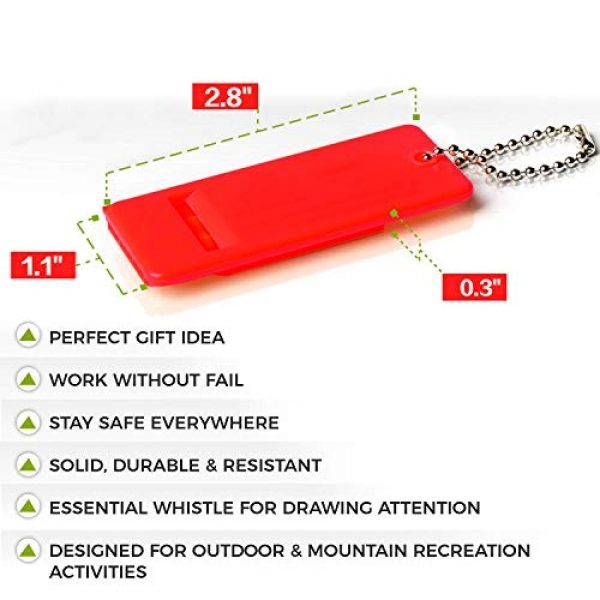RAYVENGE Survival Whistle 4 RAYVENGE Flat Safety Whistle with Small Chain for Camping, Hiking, Boating, and Kayaking for Rescue Signaling Emergency Survival