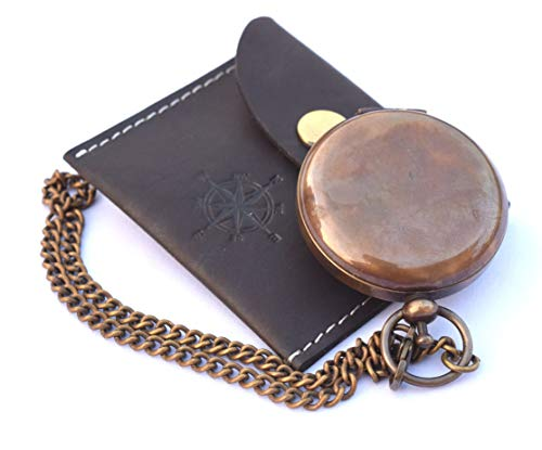 NEOVIVID Survival Compass 4 NEOVIVID Handmade Brass Push Open Compass On Chain with Leather Case, Pocket Compass, Gift Compass