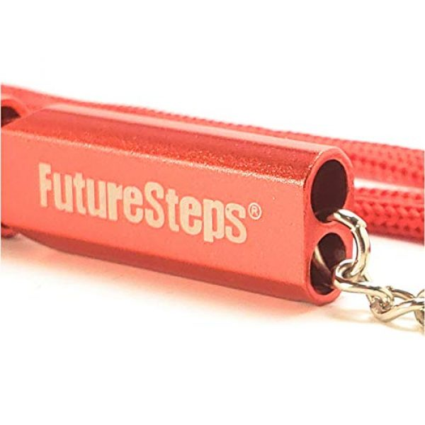 FUTURESTEPS Survival Whistle 6 FUTURESTEPS Survival Whistle, Emergency Safety, Loud for Hiking, Storm, Camping, Boating, Dog Training with Lanyard - 120 Decibels - Red Color - 36 Inch Lanyard