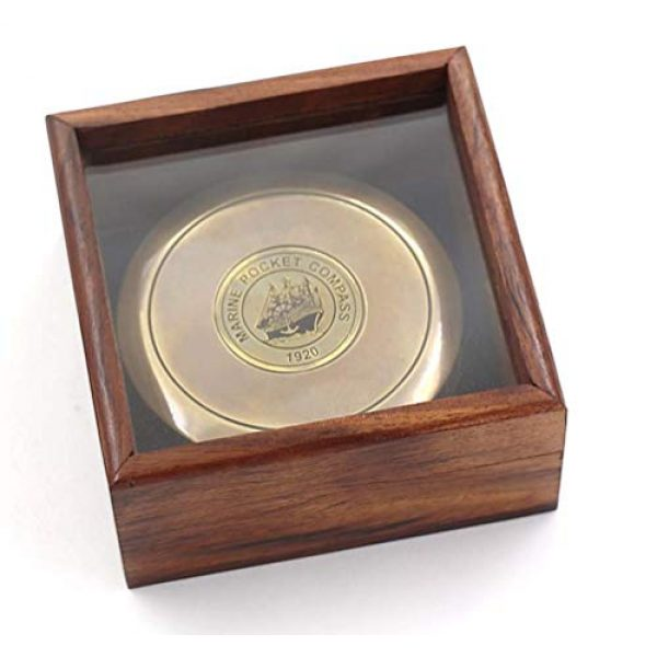 """Roorkee Instruments India Survival Compass 4 ROORKEE INSTRUMENTS (INDIA) A NAUTICAL REPRODUCTION HOUSE 3"""" Robert Frost Poem Compass with Glass Top Hardwood Box"""