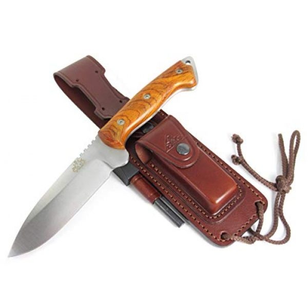 CDS-Survival Fixed Blade Survival Knife 2 CELTIBEROCOCO - Outdoor / Survival / Hunting / Tactical Knife - Cocobolo Wood Handle, Stainless Steel MOVA-58 with Genuine Leather Multi-positioned Sheath + Sharpener Stone + Firesteel