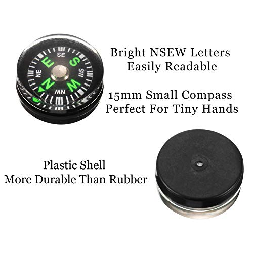 BBTO  4 200 Pieces Button Compass Mini Black Survival Compass Oil Filled Compass for Camping Hiking Boating Touring
