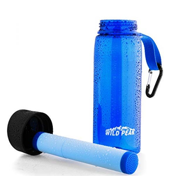 Wild Peak Survival Water Filter 2 Wild Peak Stay Alive-4 Outdoor 4-Stage Water Filter Straw Emergency 22oz Bottle with Activated Carbon for Survival, Camping, Hiking, Climbing, Backpacking (1500 Liters)