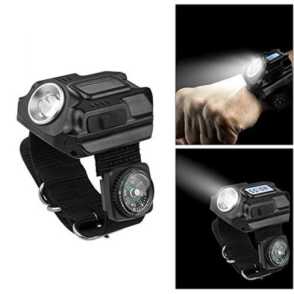 SUNDERPOWER Survival Flashlight 2 Portable Rechargeable Wrist Light - Waterproof LED Tactical Flashlight for Outdoor Running Hiking Camping Birthday Gift
