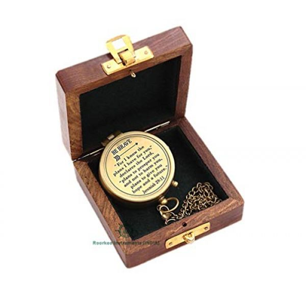 Roorkee Instruments India Survival Compass 2 Roorkeee Instruments India BE Brave for i Know The Planes i Have for You Jeremiah 29:11 Compass with Case/Gift to Son,Inspirational Quotes, Religious